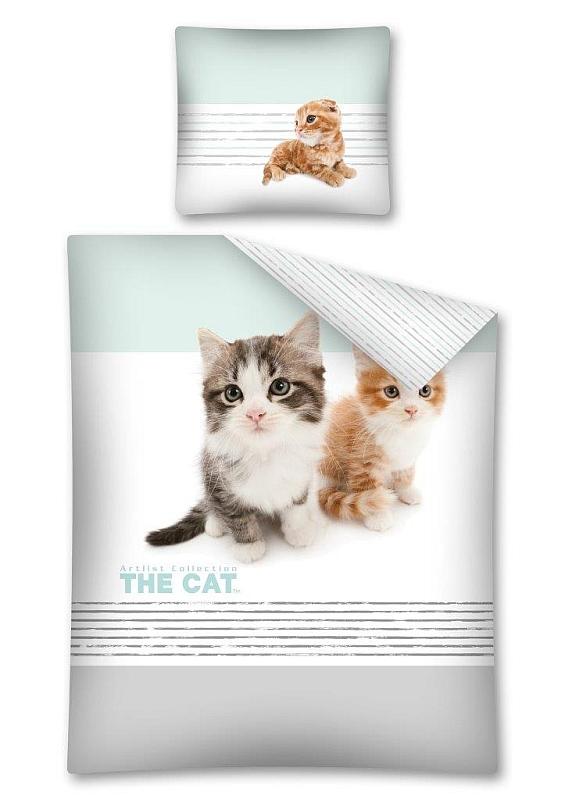 DETEXPOL Povlečení The Cat Koťata Bavlna, 140/200, 70/80 cm