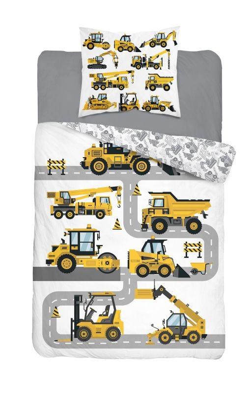 DETEXPOL Povlečení Stavební Stroje  Bavlna, 140/200, 70/80 cm
