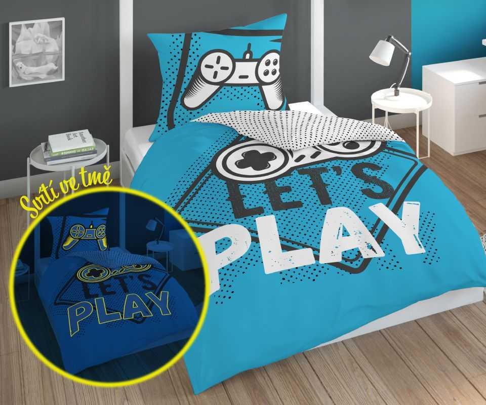 DETEXPOL Povlečení Play Game blue svítící  Bavlna, 140/200, 70/80 cm