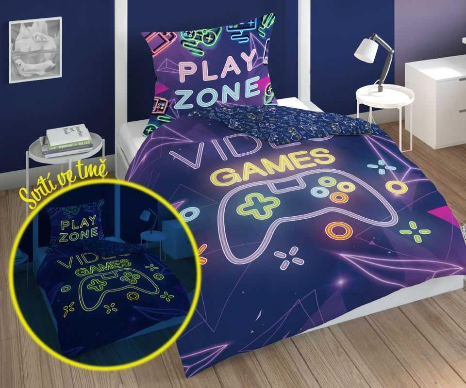 DETEXPOL Povlečení Play Game Zone svítící  Bavlna, 140/200, 70/80 cm
