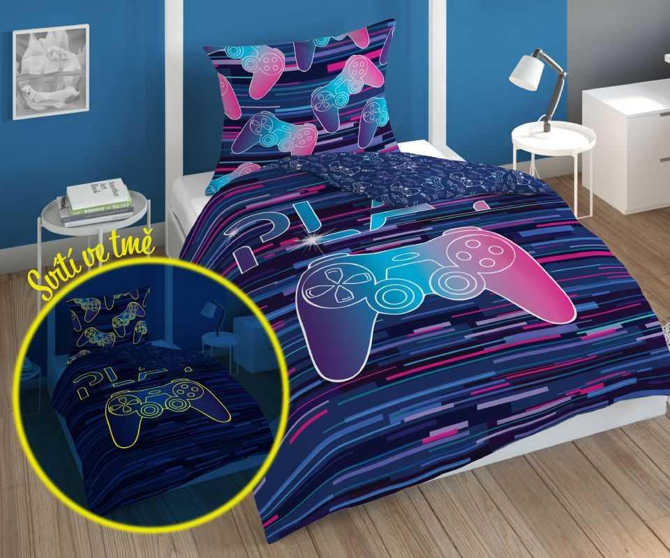 DETEXPOL Povlečení Play Game Rainbow svítící  Bavlna, 140/200, 70/80 cm
