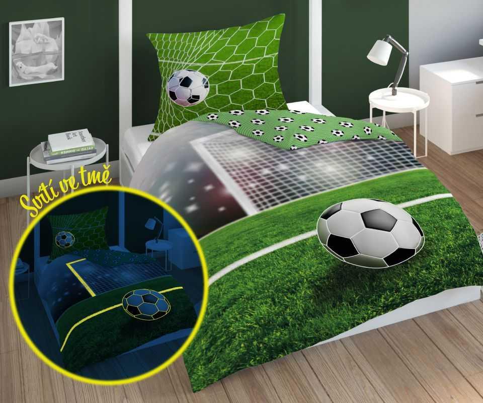 DETEXPOL Povlečení Fotbal Green svítící  Bavlna, 140/200, 70/80 cm