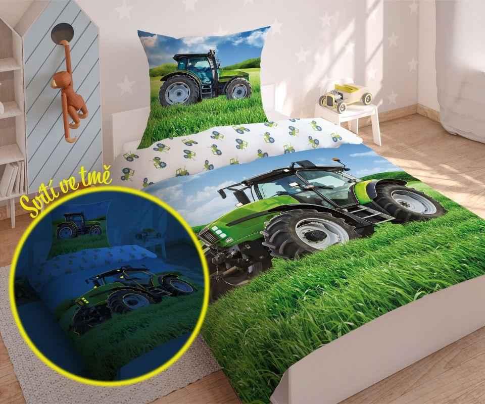 DETEXPOL Povlečení Traktor green svítící  Bavlna, 140/200, 70/80 cm