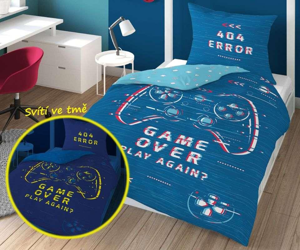 DETEXPOL Povlečení Game Over blue svítící  Bavlna, 140/200, 70/80 cm