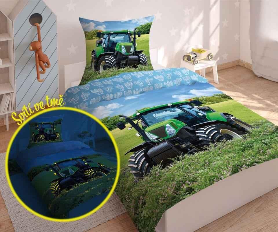 DETEXPOL Povlečení Traktor svítící  Bavlna, 140/200, 70/80 cm
