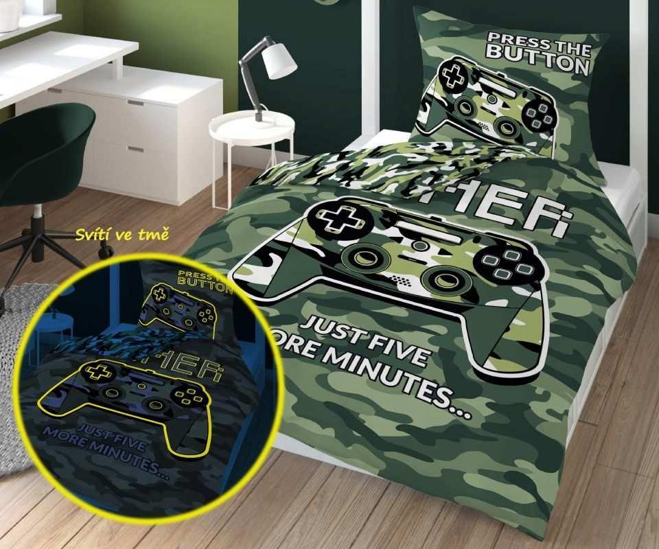 DETEXPOL Povlečení Gamer Army svítící  Bavlna, 140/200, 70/80 cm