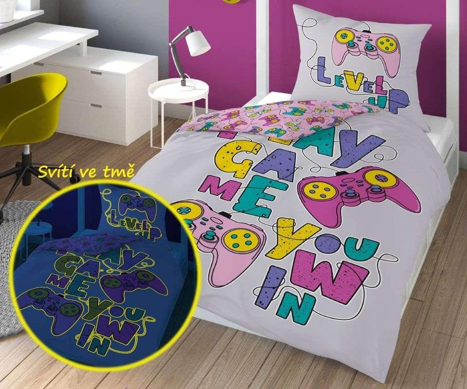 DETEXPOL Povlečení Play Game Pink svítící  Bavlna, 140/200, 70/80 cm