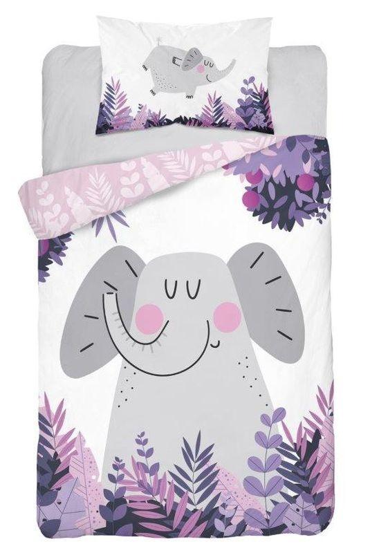 DETEXPOL Povlečení do postýlky Slon Jungle pink  Bavlna, 100/135, 40/60 cm