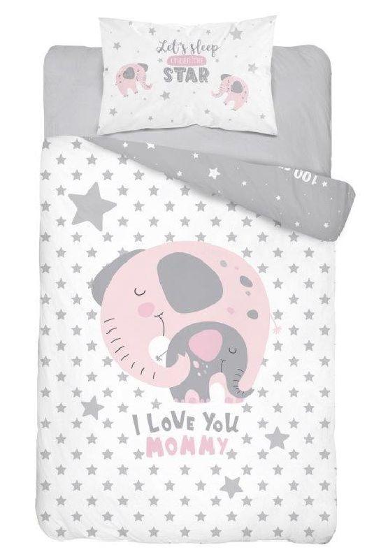 DETEXPOL Povlečení do postýlky Slon Love růžová  Bavlna, 100/135, 40/60 cm