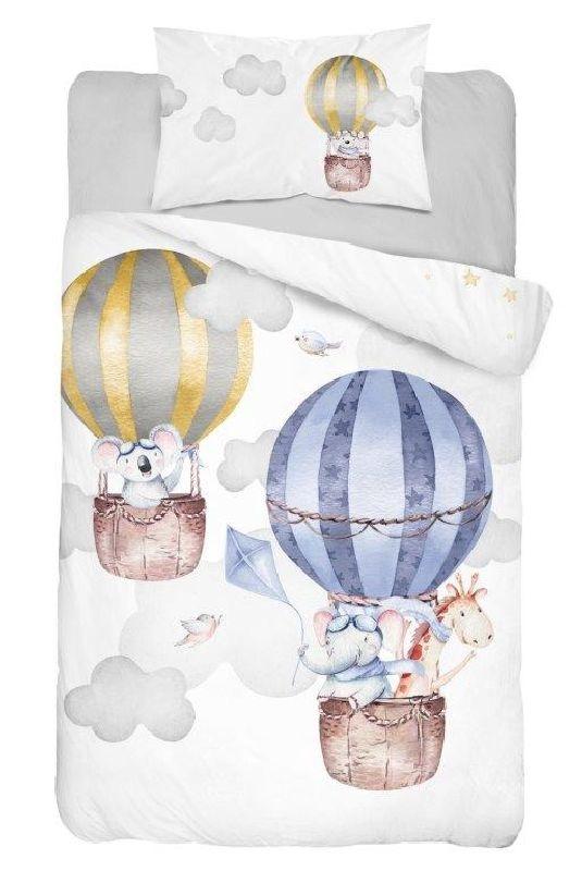DETEXPOL Bambusové povlečení do postýlky Balóny  Bavlna, Bambus, 100/135, 40/60 cm