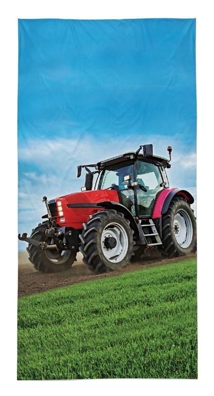DETEXPOL Osuška Traktor červený  Bavlna - Froté, 70/140 cm