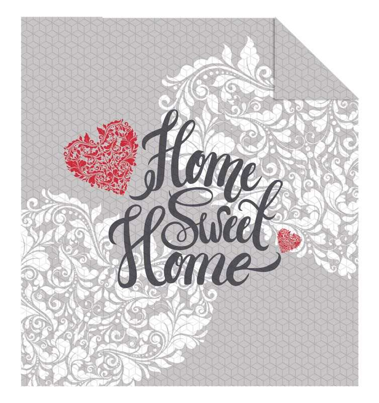 DETEXPOL Přehoz na postel Home Sweet Home grey  Polyester, 220/240 cm