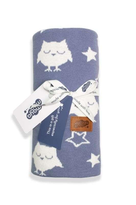 DETEXPOL Pletená žakárová bavlněná deka do kočárku sovičky modrá  Bavlna, 80/100 cm
