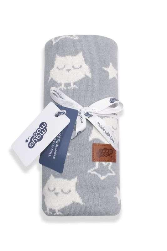 DETEXPOL Pletená žakárová bavlněná deka do kočárku sovičky šedá  Bavlna, 80/100 cm