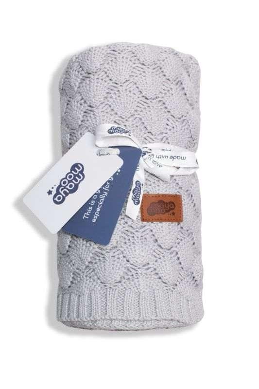 DETEXPOL Pletená bavlněná deka do kočárku světle šedá  Bavlna, 80/100 cm