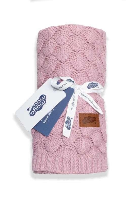 DETEXPOL Pletená bavlněná deka do kočárku pudrově růžová  Bavlna, 80/100 cm