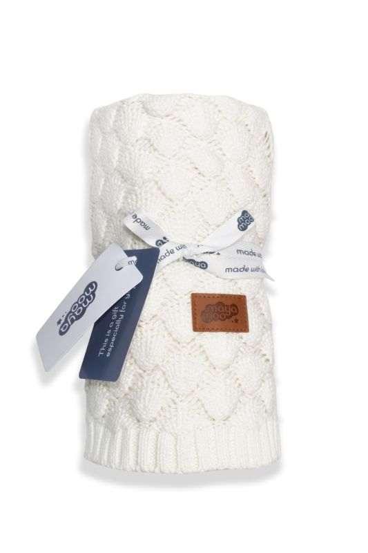 DETEXPOL Pletená bavlněná deka do kočárku smetanová  Bavlna, 80/100 cm