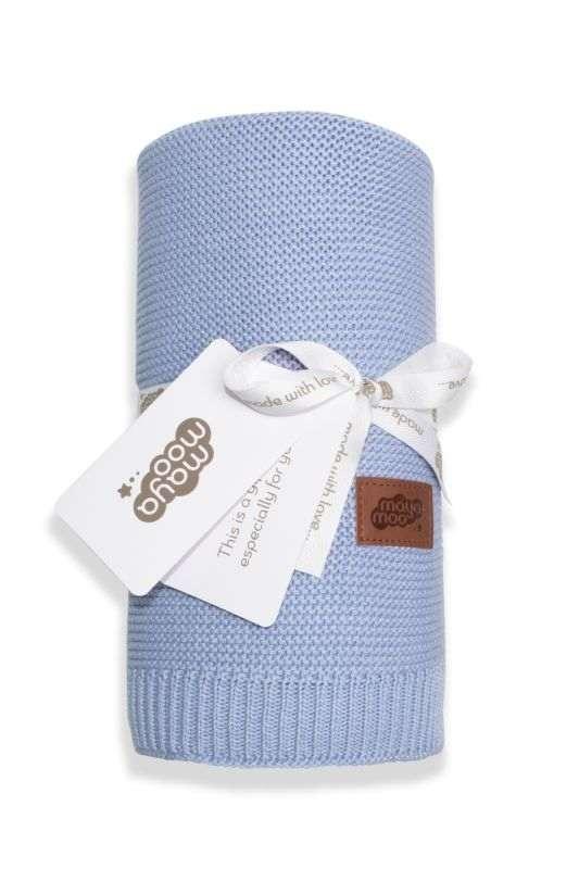 DETEXPOL Pletená deka do kočárku bavlna bambus modrá  Bavlna, Bambus, 80/100 cm
