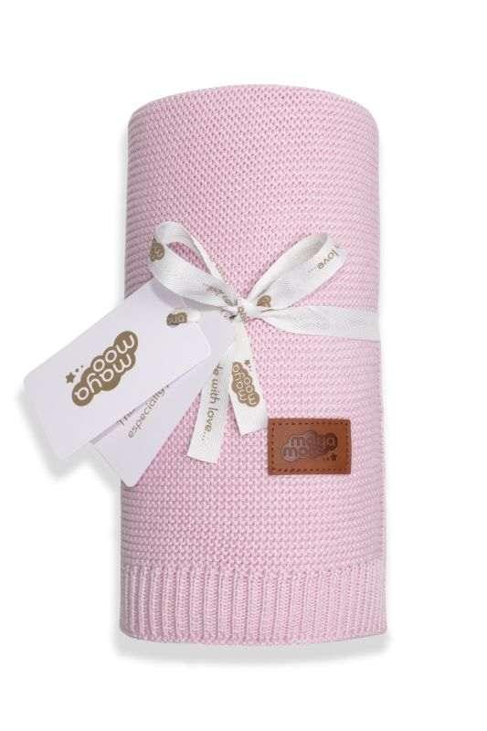 DETEXPOL Pletená deka do kočárku bavlna bambus růžová  Bavlna, Bambus, 80/100 cm
