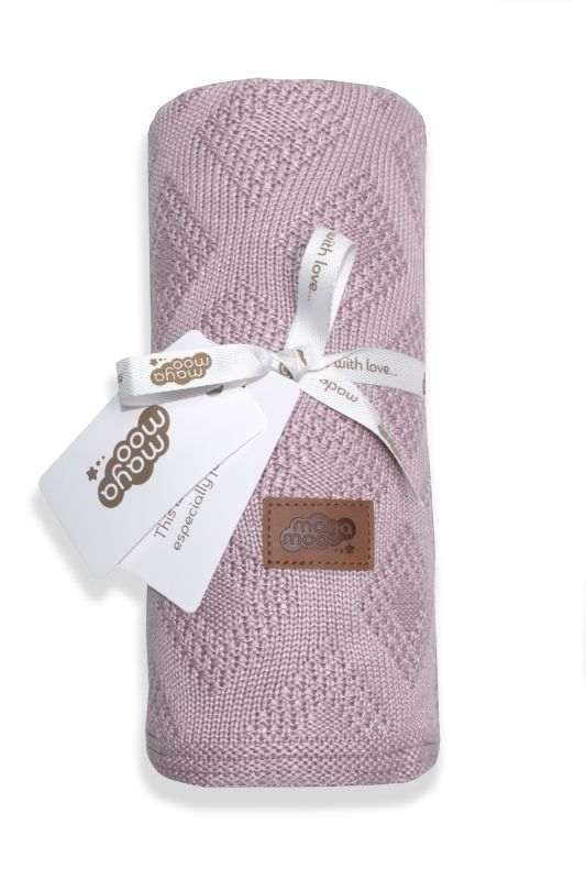 DETEXPOL Pletená bambusová deka do kočárku pudrově růžová  Bambus, 80/100 cm