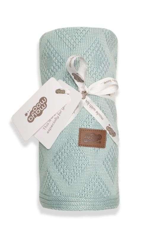 DETEXPOL Pletená bambusová deka do kočárku mátová  Bambus, 80/100 cm