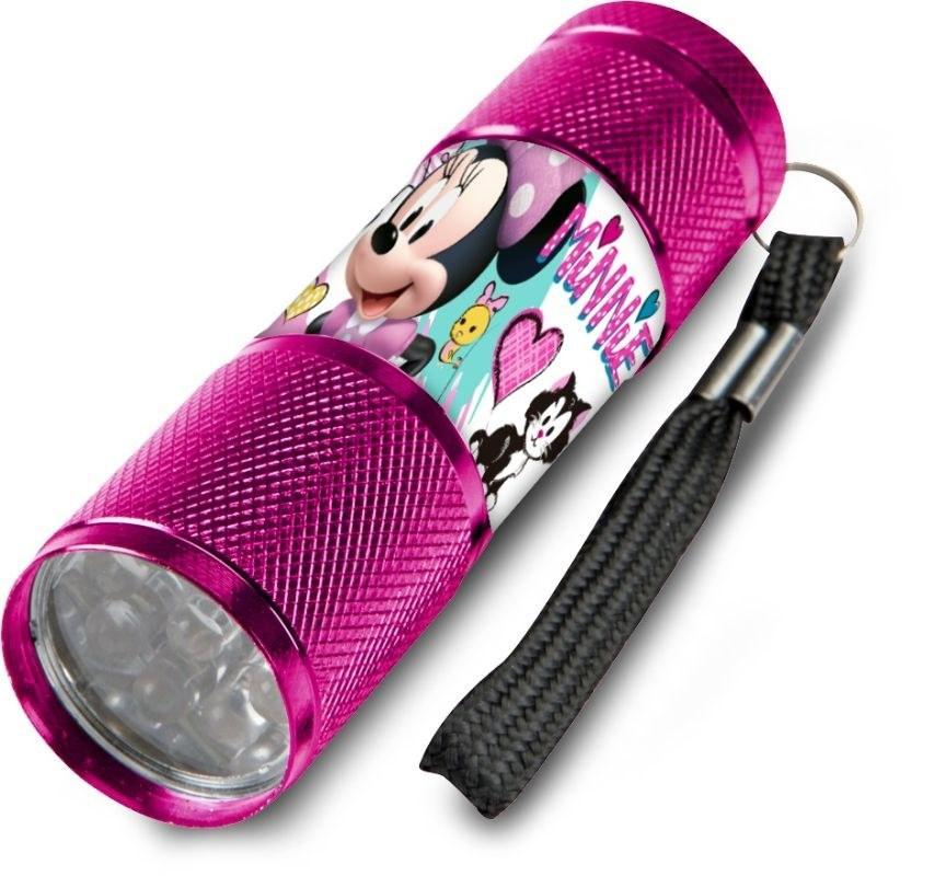 EUROSWAN Dětská hliníková LED baterka Minnie malinová Hliník, Plast,  9x2,5 cm