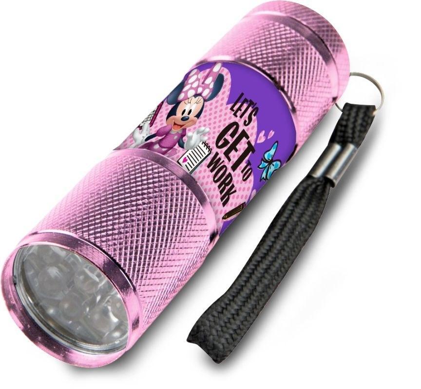 EUROSWAN Dětská hliníková LED baterka Minnie růžová Hliník, Plast,  9x2,5 cm
