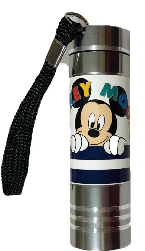 EUROSWAN Dětská hliníková LED baterka Mickey silver Hliník, Plast,  9x2,5 cm