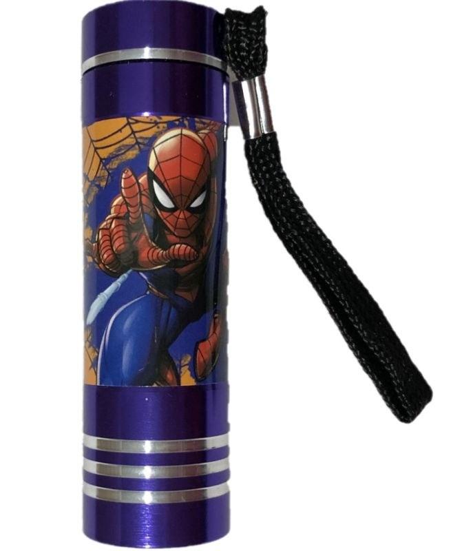 EUROSWAN Dětská hliníková LED baterka Spiderman lila Hliník, Plast,  9x2,5 cm