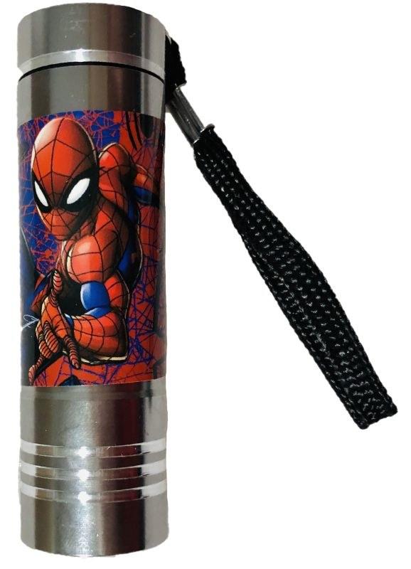 EUROSWAN Dětská hliníková LED baterka Spiderman silver Hliník, Plast,  9x2,5 cm