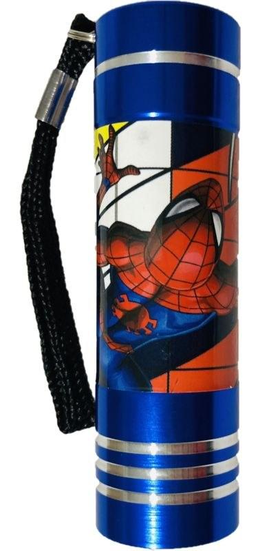 EUROSWAN Dětská hliníková LED baterka Spiderman blue Hliník, Plast,  9x2,5 cm