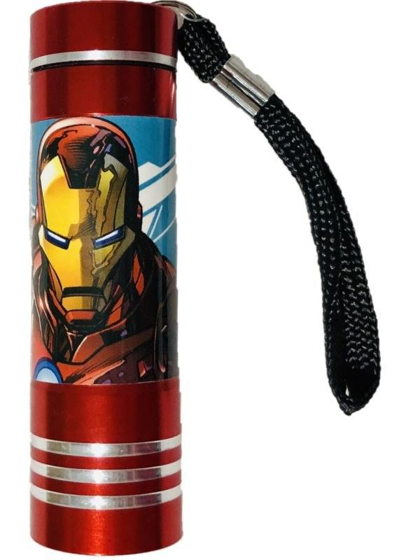 EUROSWAN Dětská hliníková LED baterka Avengers red Hliník, Plast,  9x2,5 cm