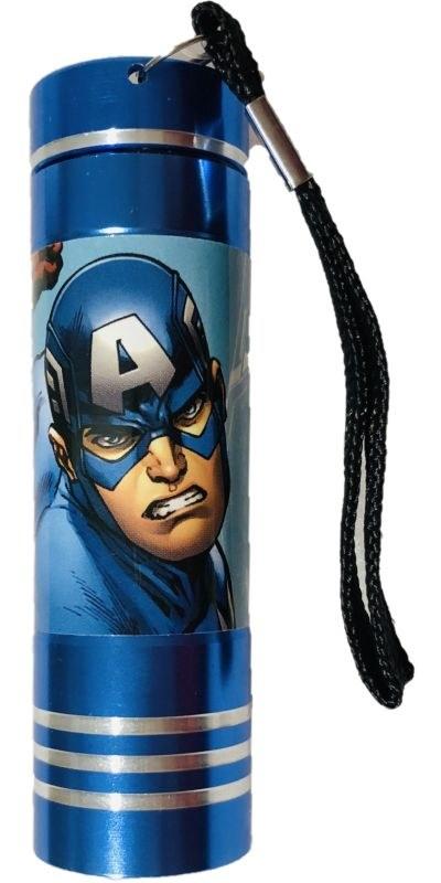EUROSWAN Dětská hliníková LED baterka Avengers blue Hliník, Plast,  9x2,5 cm