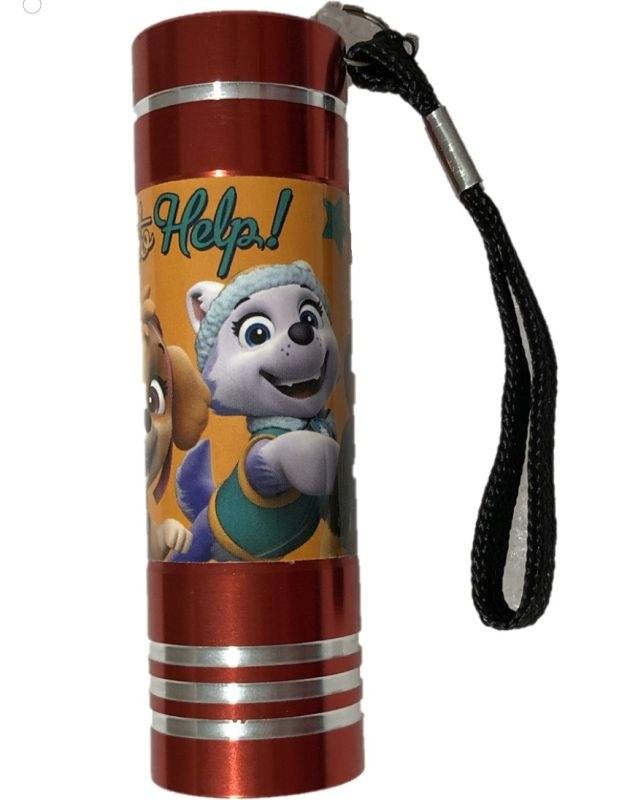 EUROSWAN Dětská hliníková LED baterka Paw Patrol červená Hliník, Plast,  9x2,5 cm
