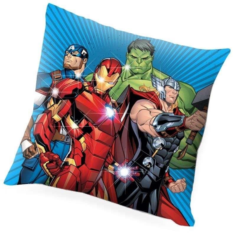 EUROSWAN Svítící LED polštářek Avengers  Polyester, 40/40 cm