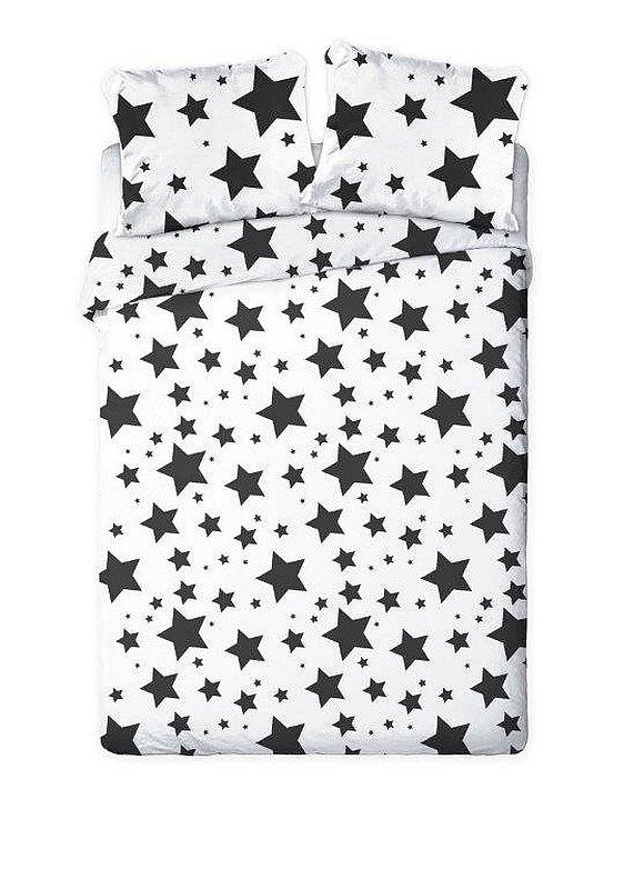 FARO Francouzské povlečení Hvězdy černobílé  Bavlna, 220/200, 2x70/80 cm