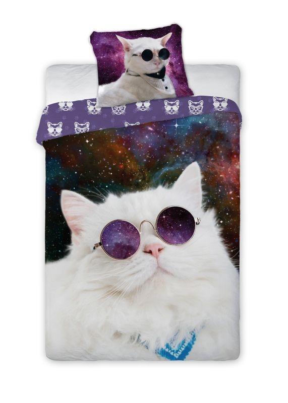 FARO Povlečení Kočka ve vesmíru  Bavlna, 140/200, 70/90 cm