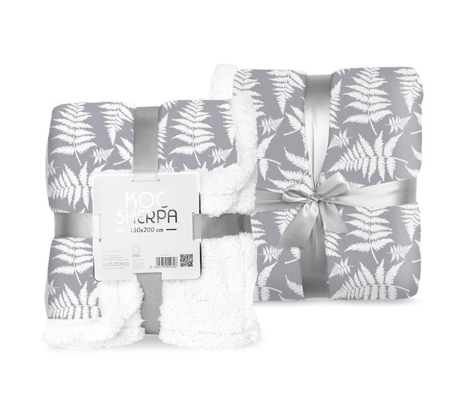 FARO Fleece deka s beránkem listy šedá  Polyester, 150/200 cm