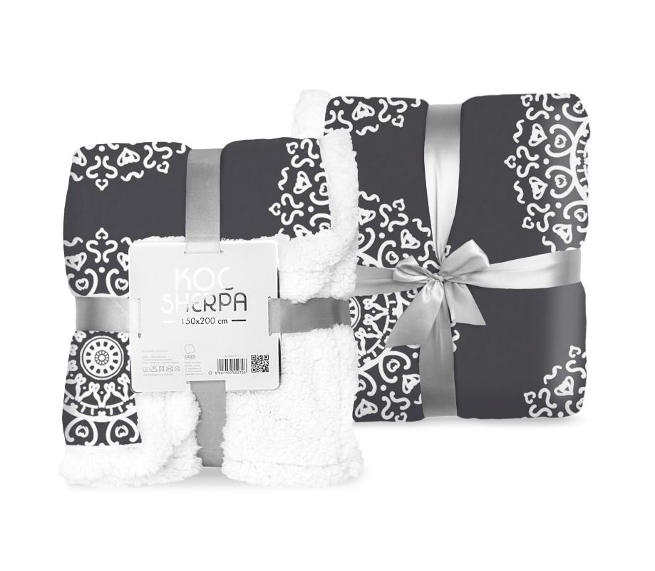 FARO Fleece deka s beránkem ornamenty černá  Polyester, 150/200 cm