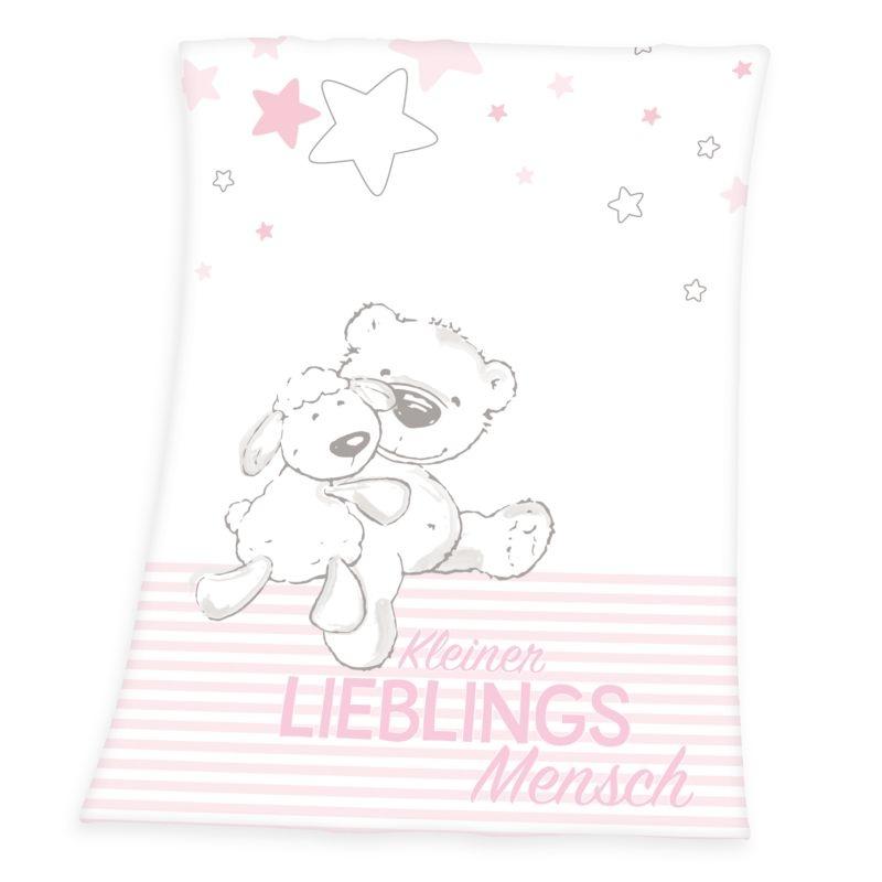HERDING Micropolar fleece deka Miláček růžová  Polyester, 75/100 cm