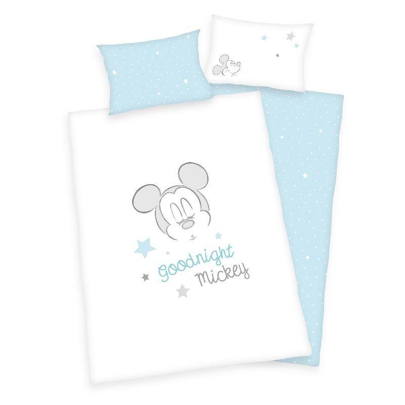 HERDING Povlečení do postýlky Mickey Good Night Bio Bavlna  Bio Bavlna, 100/135, 40/60 cm