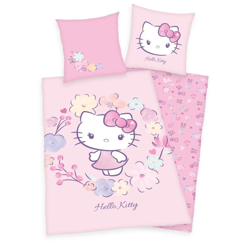 HERDING Povlečení Hello Kitty květy  Bavlna, 140/200, 70/90 cm