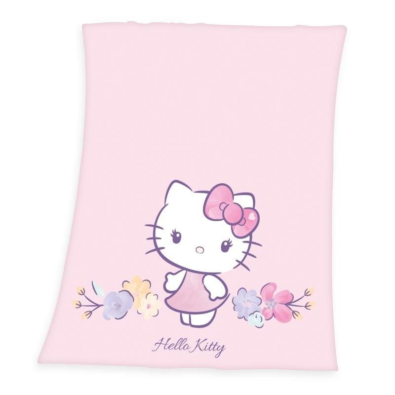 HERDING Fleece deka Hello Kitty květy  Polyester, 130/160 cm