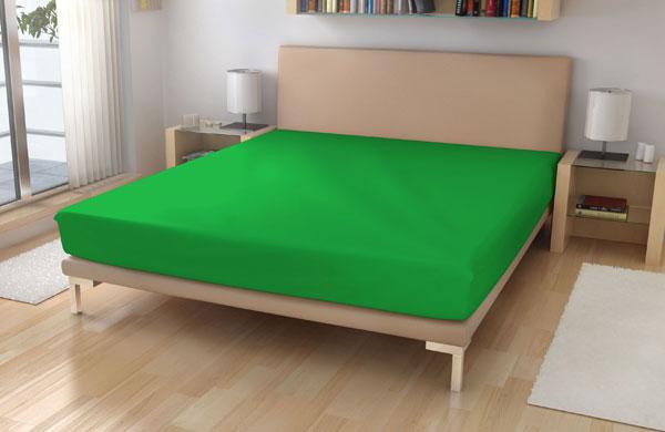 Jersey prostěradlo 180/200 sytě zelená