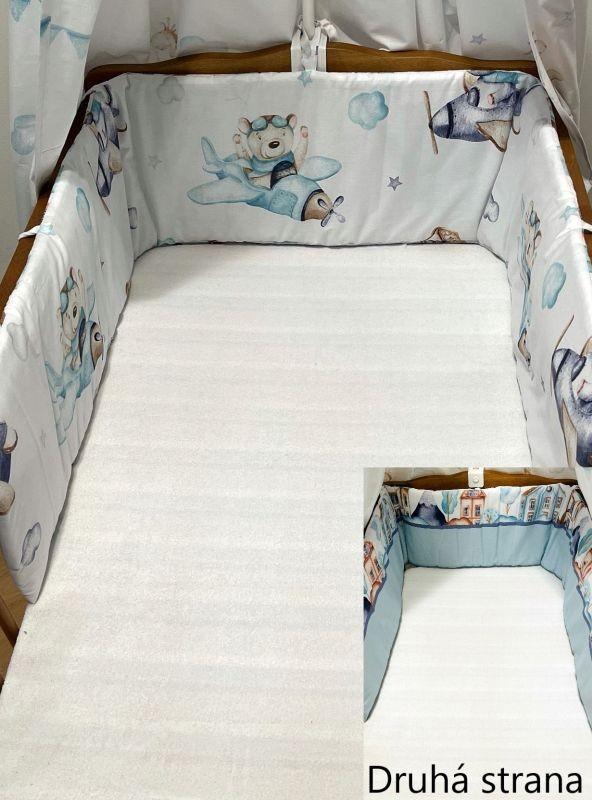 SDS Mantinel do postýlky Letadýlka modrá  Bavlna, výplň: Polyester, 195/28 cm