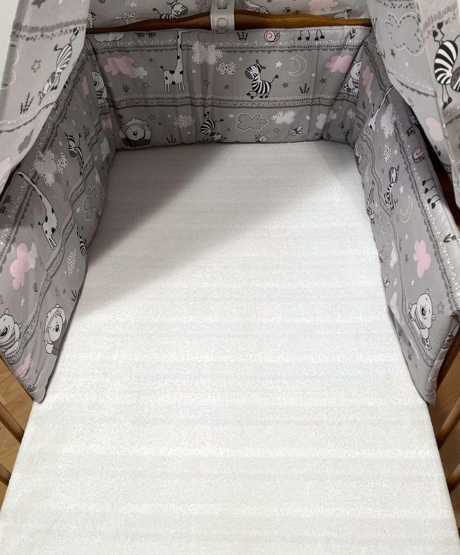 SDS Mantinel do postýlky Zvířátka růžová  Bavlna, výplň: Polyester, 195/28 cm