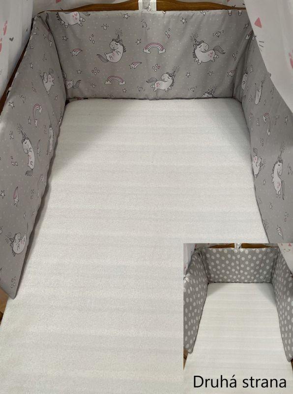 SDS Mantinel do postýlky Jednorožec šedá/Puntíky šedá  Bavlna, výplň: Polyester, 195/28 cm