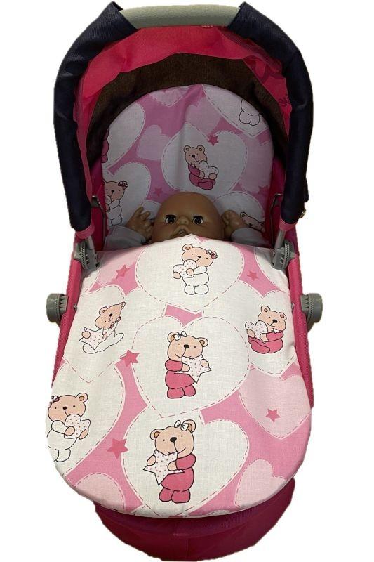 SDS Peřinky do kočárku pro panenky Medvídek srdíčka růžová Bavlna, výplň: Polyester, 1x 27x40 cm / 25x20 cm
