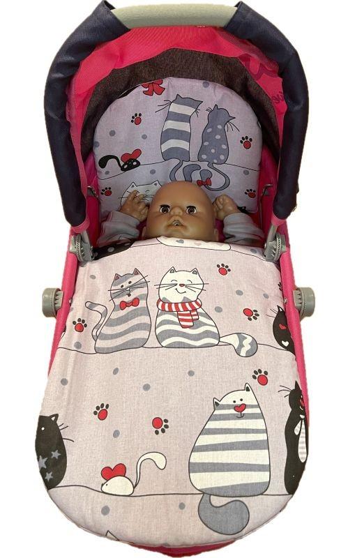 SDS Peřinky do kočárku pro panenky Veselé kočky Bavlna, výplň: Polyester, 1x 27x40 cm / 25x20 cm
