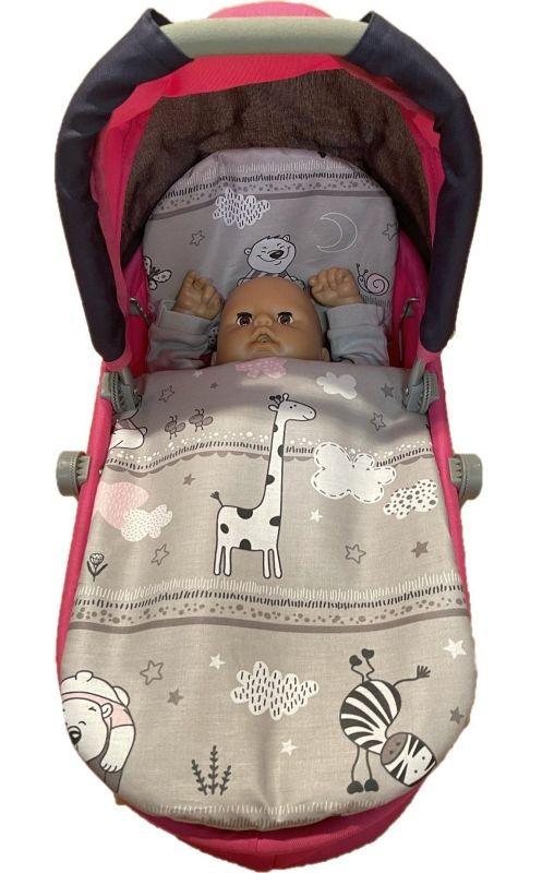 SDS Peřinky do kočárku pro panenky Zvířátka růžová Bavlna, výplň: Polyester, 1x 27x40 cm / 25x20 cm
